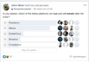 Uitslag poll favoriete platformen crowdlending Facebook